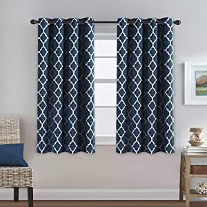 H.VERSAILTEX Blackout Curtains for Living Room/Bedroom Thermal Insulated Energy Saving Grommet Window Curtain Drapes (2 Panels) Geometric Moroccan Printed Draperies, Navy and White, 52 by 63 Inch