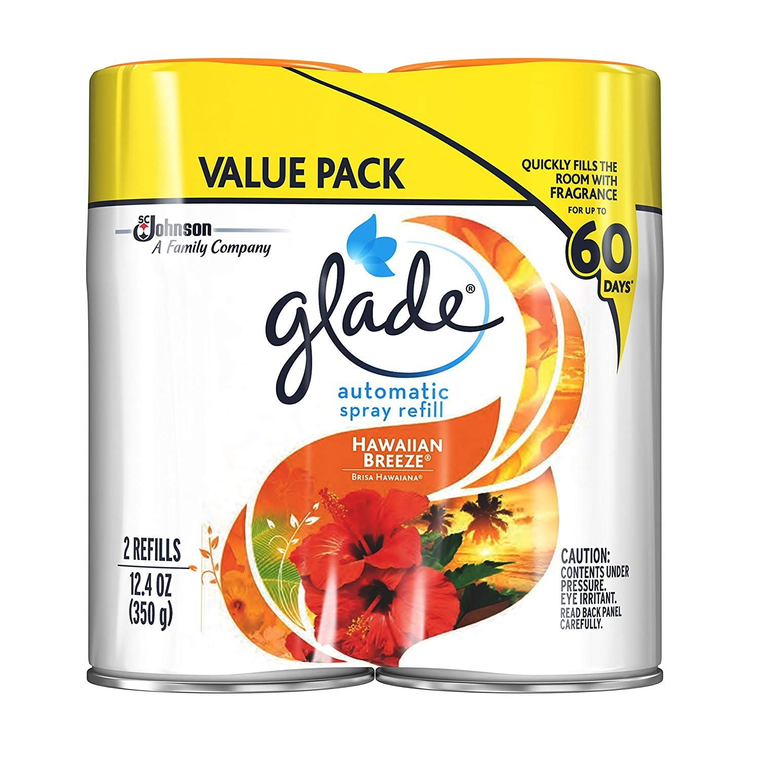Glade Automatic Spray Air Freshener, 12.4 Ounce (Hawaiian Breeze, Pack - 3,(6 Count))