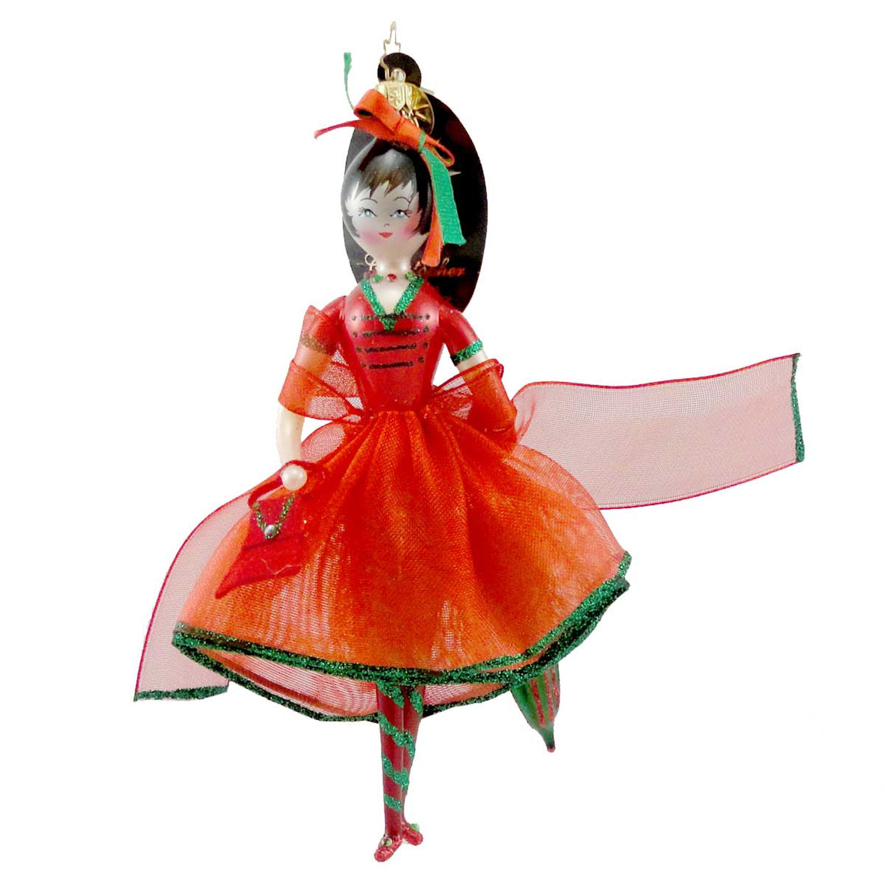 Christopher Radko CRIMSON STROLLER Blown Glass Ornament Italian Christmas Girl
