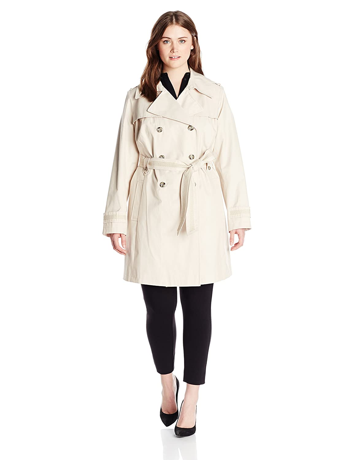 Via Spiga Womens Plus-Size Double-Breasted Trench Coat with Belt