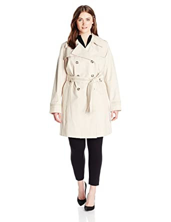 e6055b45a28 Via Spiga Women s Plus-Size Double-Breasted Trench Coat With Belt at Amazon  Women s Clothing store