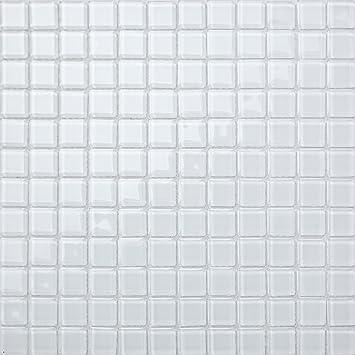 1qm Glas Mosaik Fliesen Matte Für Wände In Reines Weiß Mt0079 M2