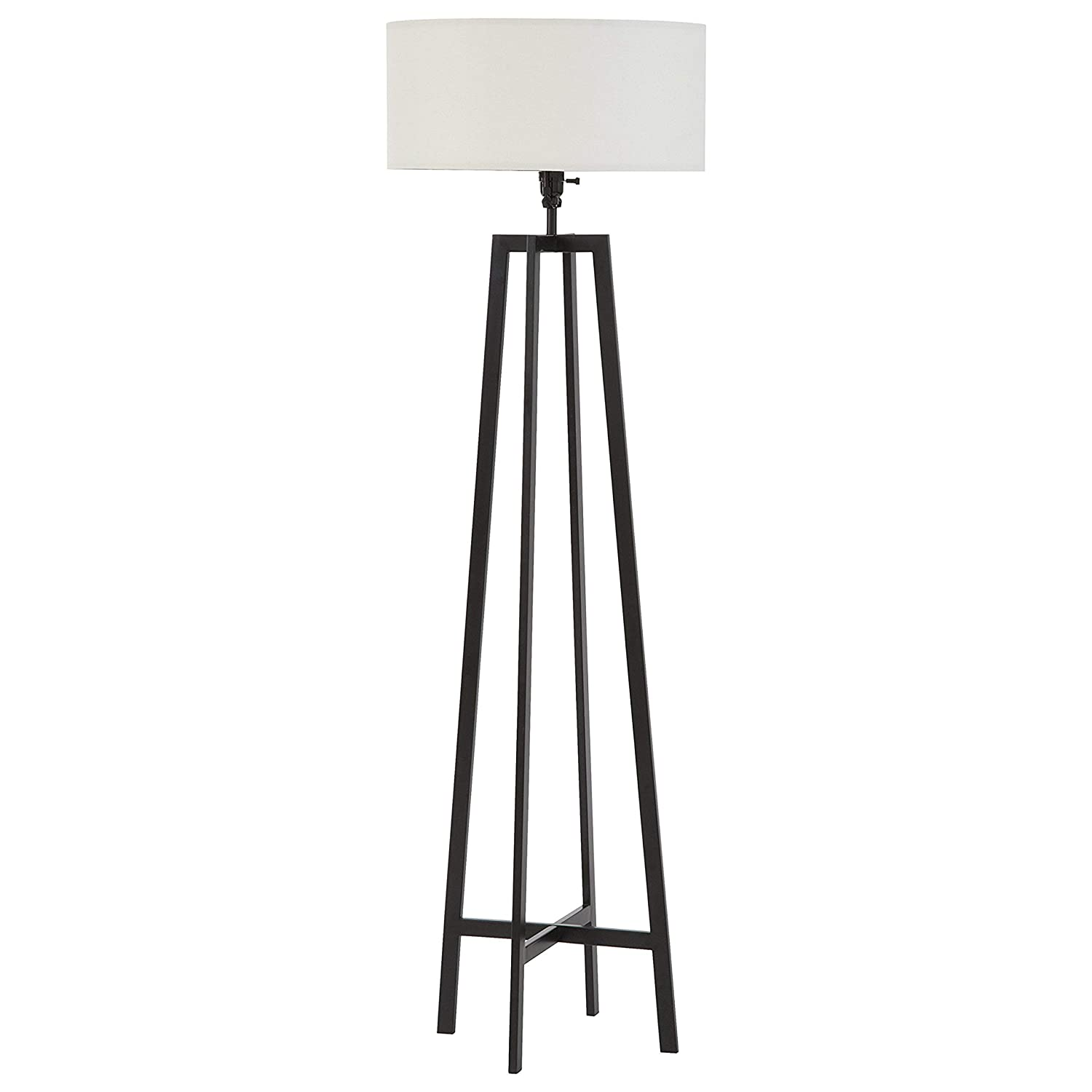 Stone Beam Deco Metal Frame Living Room Standing Floor Lamp With Light Bulb and White Shade – 18 x 18 x 59.5 Inches, Black