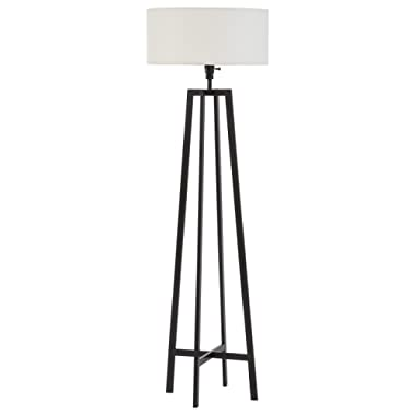 Stone & Beam Deco Metal Frame Living Room Standing Floor Lamp With Light Bulb and White Shade - 18 x 18 x 59.5 Inches, Black