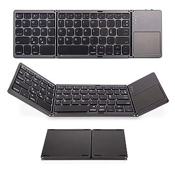 Plegable Bluetooth Teclado con TouchPad, aurtec batería portátil inalámbrico Mini Teclado para PC Tablet, Samsung, Android, iOS, Smartphone, ...