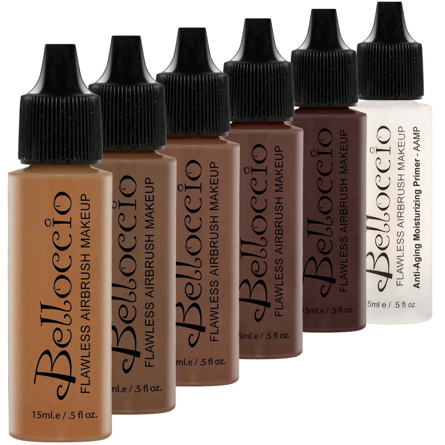 Belloccio Dark Color Shade Airbrush Makeup Foundation Set - Professional Cosmetic Airbrush Makeup in 1/2 oz Bottles