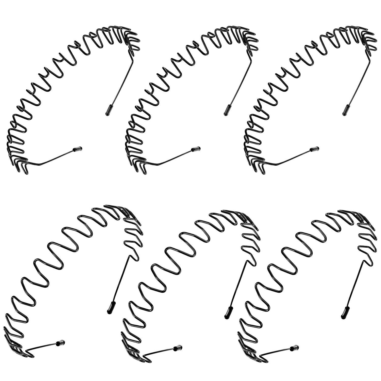 6 Pieces Metal Headbands Wavy Hairband Spring Hair Hoop Black Unisex Men Women Elastic Non Slip Sports
