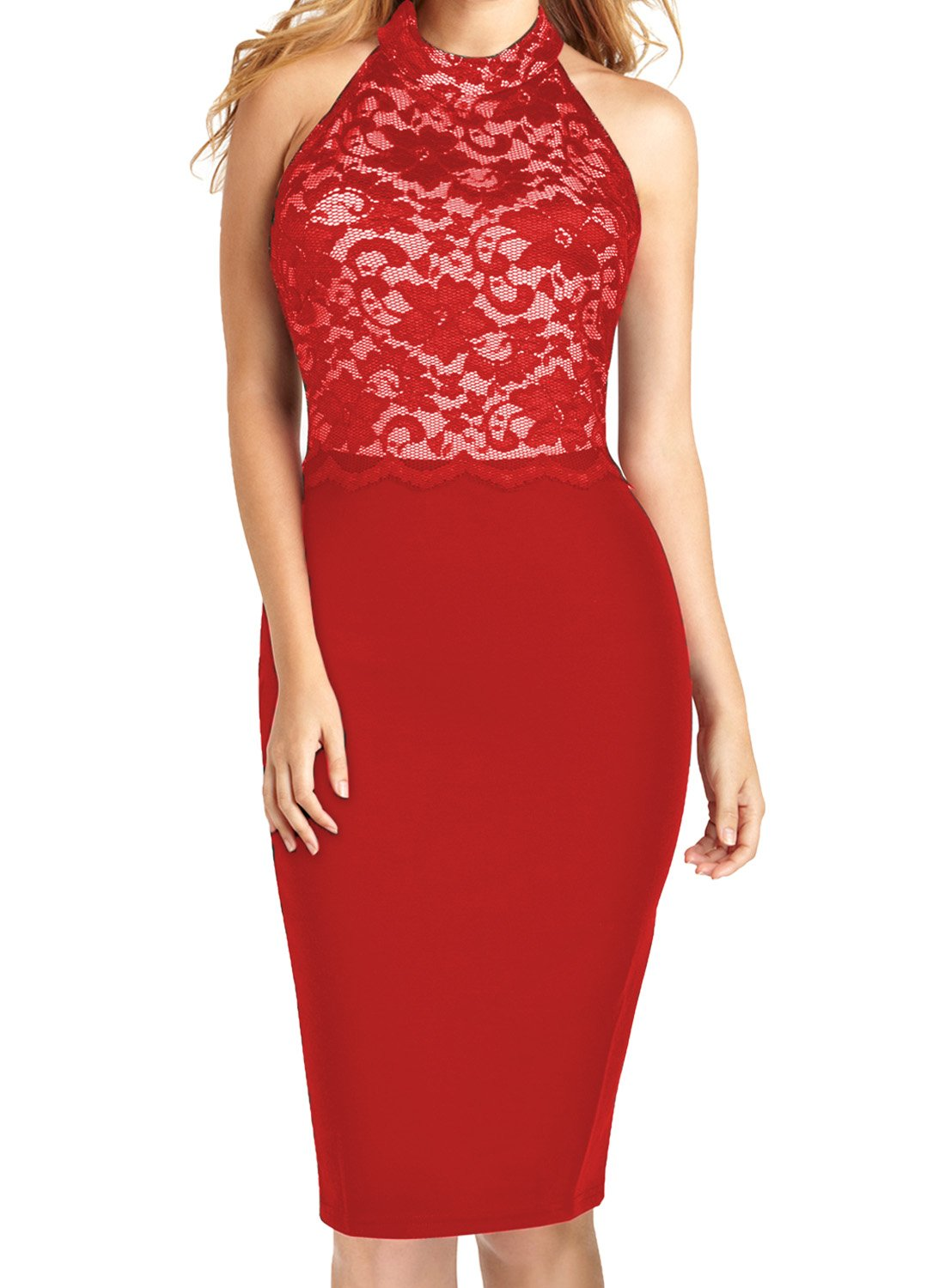 WOOSEA Women's Elegant Floral Lace Sleeveless Retro Bridesmaid Prom Dress (Large, Red)