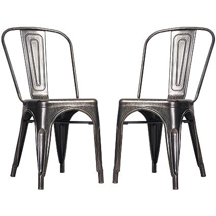 Merax High Back Steel Stackable Vintage Metal Dining Chair, Golden Black  (Set Of 2