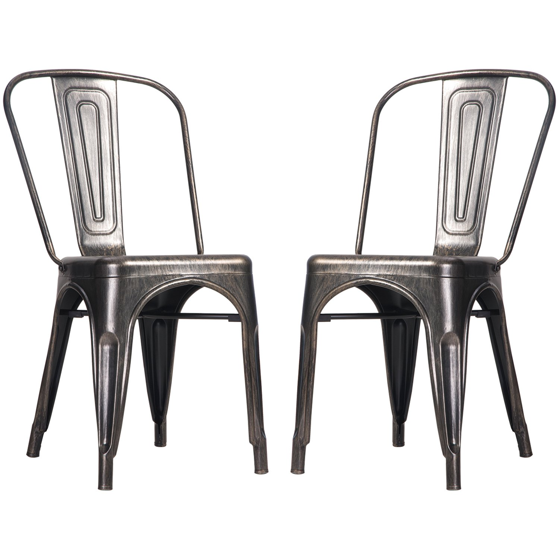 Merax High Back Steel Stackable Vintage Metal Dining Chair, Golden Black (Set of 2)