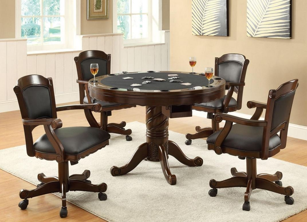Amazon com 3 in 1 oak finished wood poker pool game dining table and 4 chairs set table chair sets