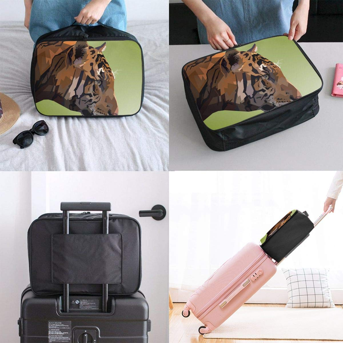 Geometry Nature Pop Art Tiger Travel Lightweight Waterproof Foldable Storage Carry Luggage Large Capacity Portable Luggage Bag Duffel Bag