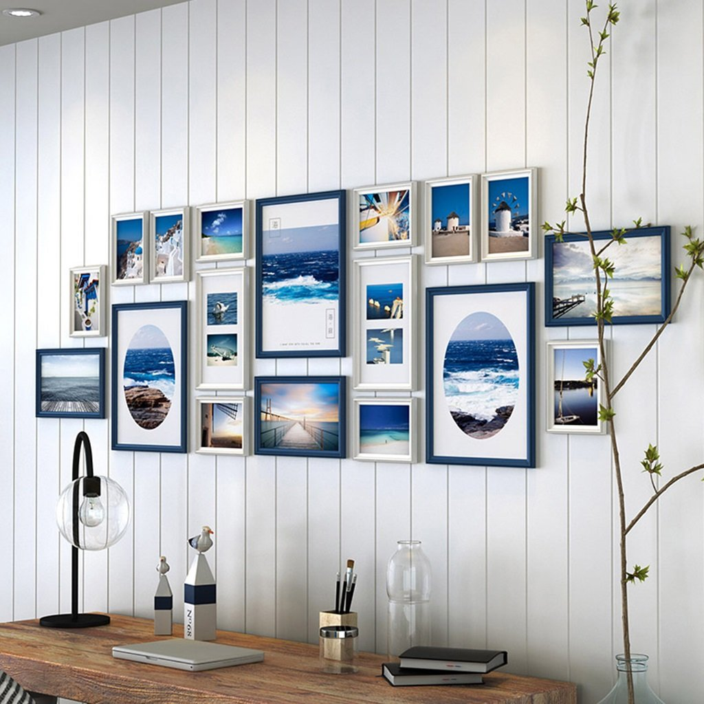 ZYANZ 18 Photo Frame Wall Gallery Kit Includes: Frames,Hanging Wall Template,Art Painting Core ( Color : Blue+white )