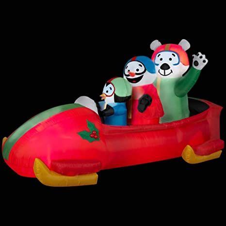 Snowman 7-foot Long x 3.5-foot Tall x 3-foot Wide ARETT SALES CORP G08-88259X Indoor Outdoor Yard Decoration and Polar Bear Inside Gemmy Airblown Inflatable Animated Shaking Bobsled With A Penguin