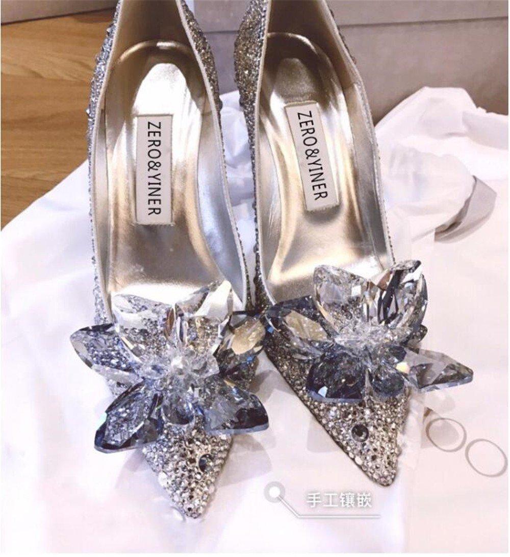 HXVU56546 Crystal Schuhe Frühjahr Und Heels Herbst Frauen High Heels Und High Heel Schuhe Hochzeit Schuhe Wasser Bohren Flachen Mund Party Schuhe  silvery b6462e