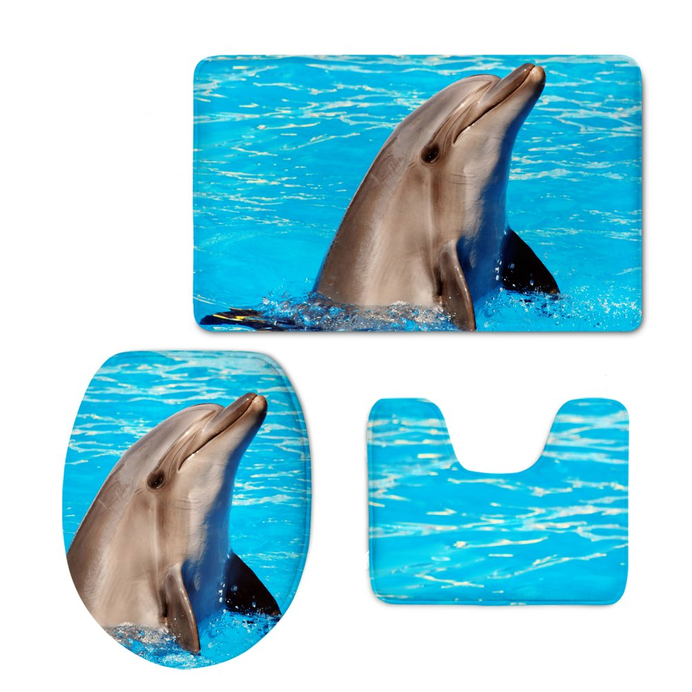 Showudesigns Blue Animal Dolphin Toilet Seat Cover Flannel Bathroom Mat