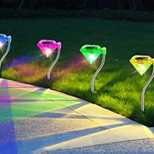 4 Pack LED Solar Lights, Outdoor Decorations 7-Color Changing LED Diamond Solar Light, Stainless Steel Stake Pathway Lights for Garden Path Walkway Patio Lawn Yard Christmas Halloween Decorations