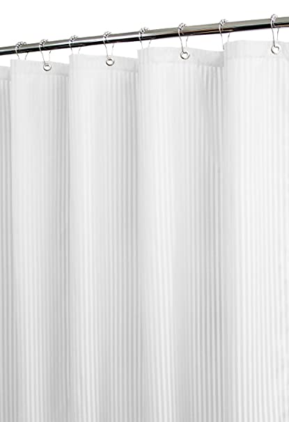 Park B Smith Satin Stripe Shower Curtain With Hooks White