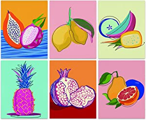 Color-Banner Colorful Various Fruits Poster Prints,Set of 6 Unframed Pictures Wall Art Decor for Bedroom Living Room - 8