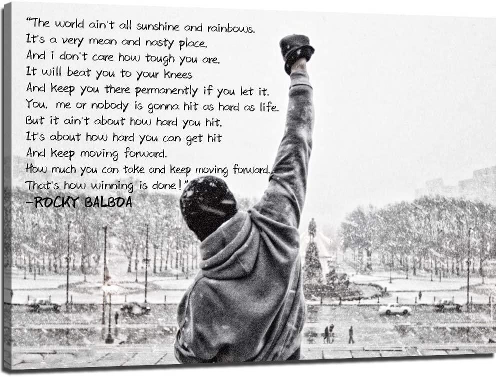 Modern Rocky Balboa Motivational Canvas Wall Art Boxing Sylvester Stallone Hope Quotes Artwork Poster Success Artwork for Office Wall Frame (16''H x 24''W)