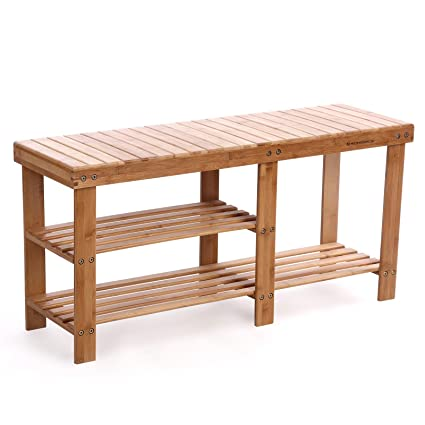 SONGMICS 100% Bamboo Shoe Rack Bench,2 Tier Entryway Storage Organizer With  Seat