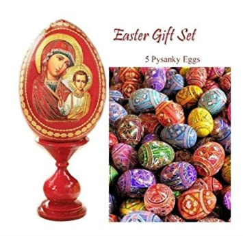 Amazon russian easter gift set madonna child icon w stand russian easter gift set madonna child icon w stand set 5 pysanki wooden eggs negle Images
