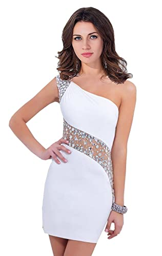 MisShow Women One-Shoulder Crystal Satin Short Prom Dress Sheath Cocktail Gowns