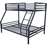 Novogratz Maxwell Twin/Full Metal Bunk Bed, Sturdy Metal Frame with Ladder and Safety Rails, Navy Blue