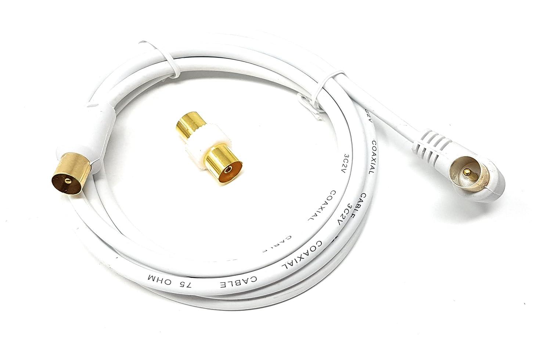 MainCore - Cable coaxial largo de ángulo derecho para antena de TV/AV con acoplador 3 m blanco
