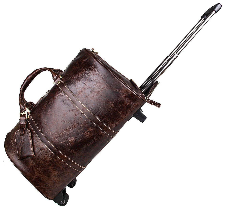 BAIGIO Leather Travel Duffle Wheels Carry-on Luggage Luxury Weekend Bag 20'' Brown by BAIGIO