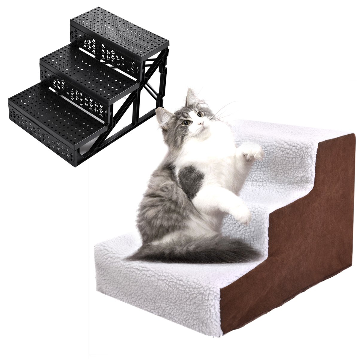 Tobbi Animals Pet Stairs, 3 Steps Ramp Ladder for Dogs, Portable, Ladder with Cover