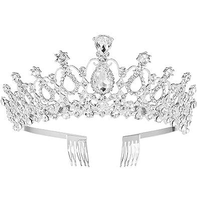 MaoXinTek Diadema Corona Tiara con Peine Hairband de Cristal Diamantes de imitación Fiesta Boda Novia Niña Mujer Partido decoración en cumpleaños ...