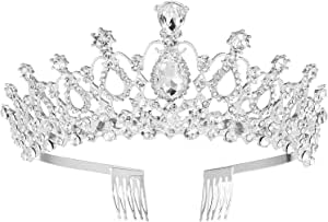MaoXinTek Diadema Corona Tiara con Peine Hairband de Cristal Diamantes de imitación Fiesta Boda Novia Niña Mujer Partido decoración en cumpleaños (Plata)
