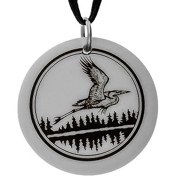 Amazoncom Great Blue Heron Totem Round Porcelain Pendant On Black