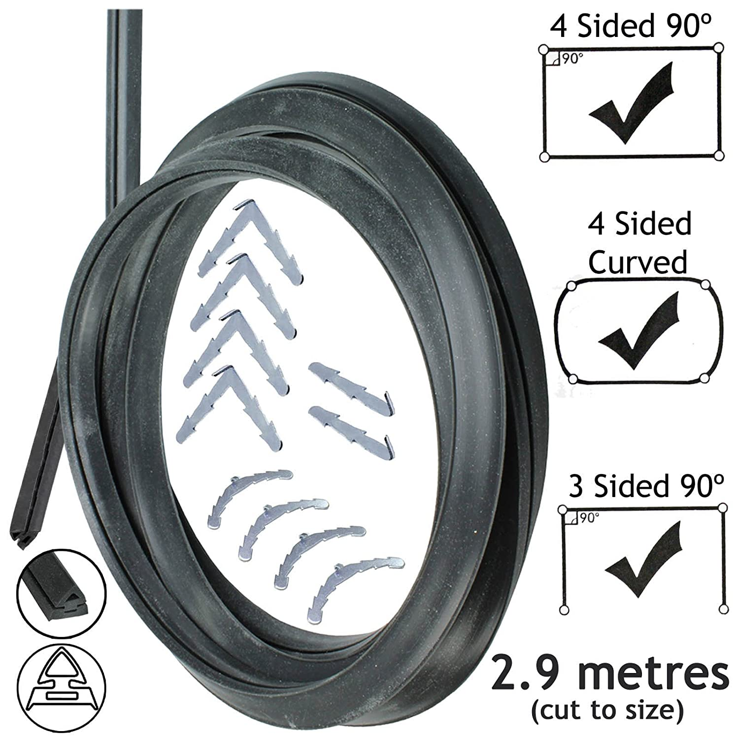 Spares2go 3m Cut to Size Door Seal For Stoves 3 or 4 Sided Oven Cooker Rounded or 90º Clips