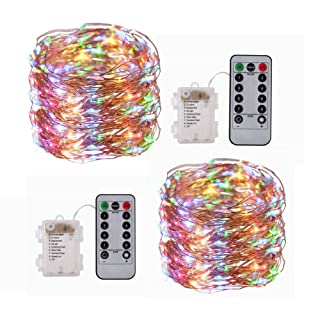 GZ BEYOUNG 2 Pack Fairy Lights Battery Operated 33ft 100 LED String Lights Waterproof Decorative Lights for Bedroom Patio Garden Gate Yard Parties Wedding