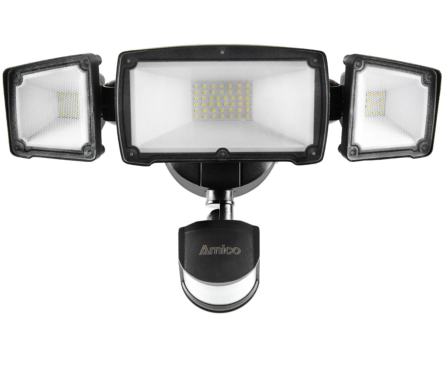 Amico 39W 3 Head LED Security Lights Motion Outdoor Motion Sensor Light Outdoor 3500 Lumens 6000K Waterproof IP65 ETL Motion Activated Flood Light Black