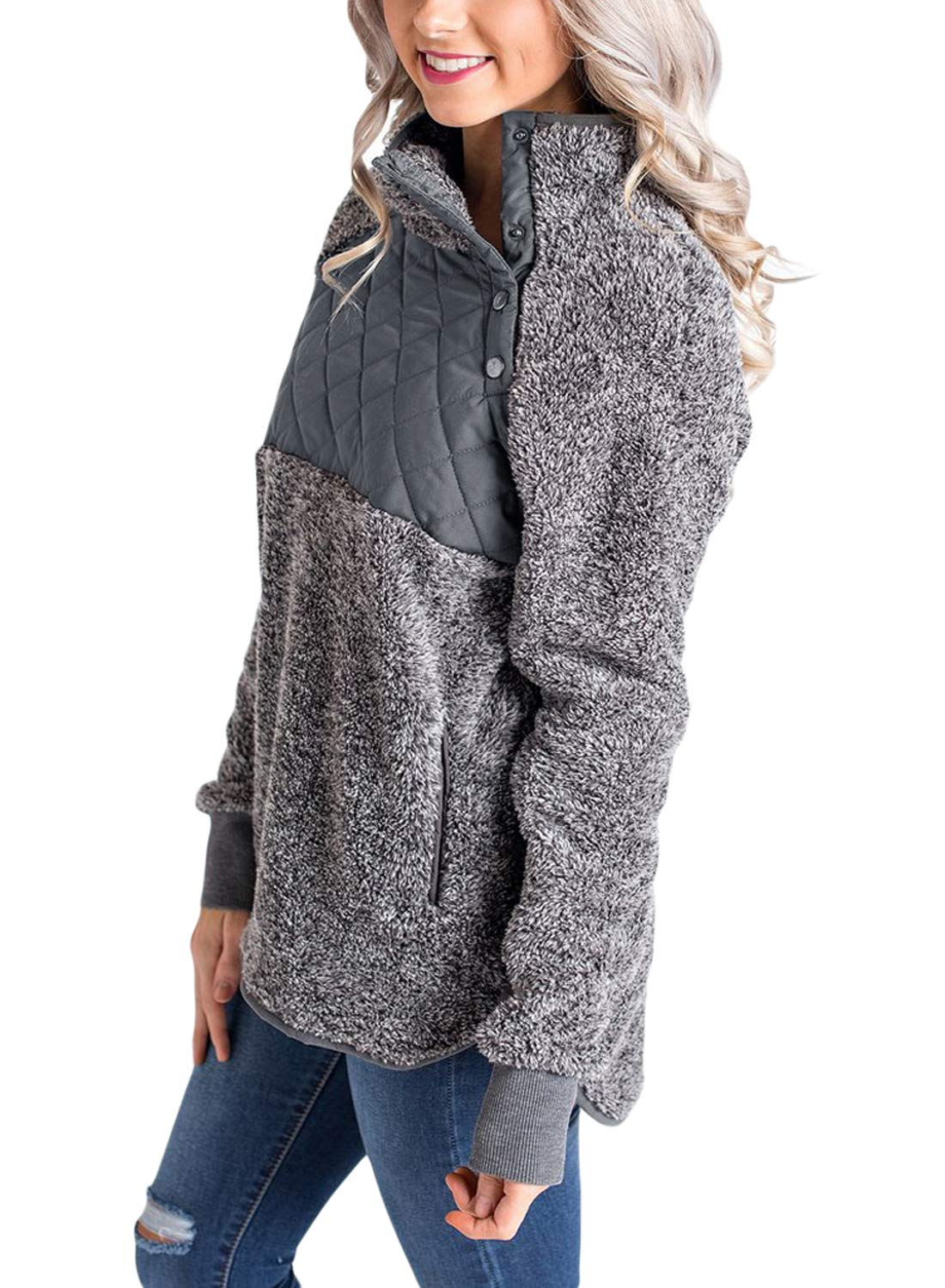 Sidefeel Women Button Neck Fleece Pullover Coat Asymmetrical Sweatshirts Outwear XX-Large Grey by Sidefeel (Image #2)