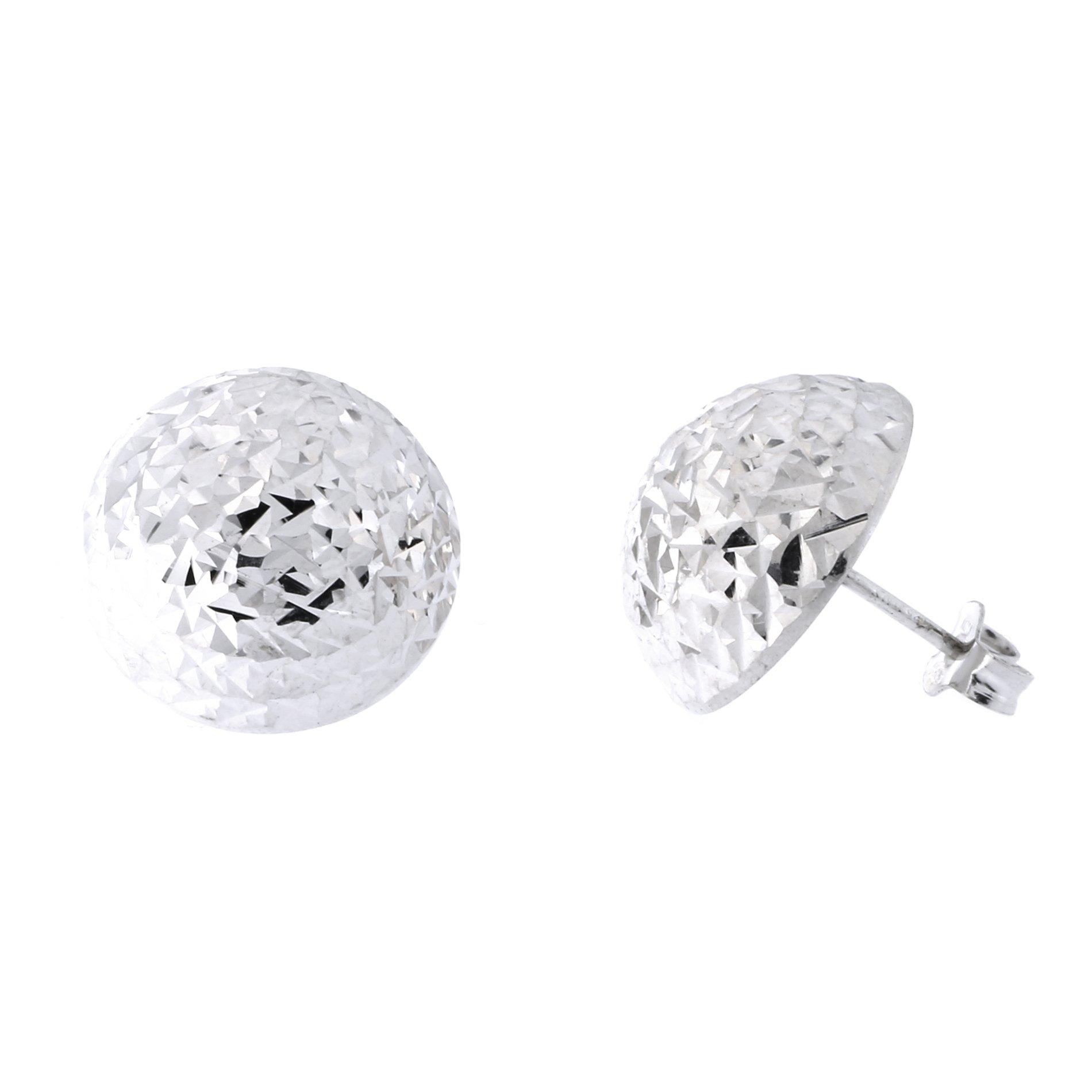 Italian Sterling Silver Rhodium Plated Diamond Cut Half Ball Stud Earrings, 16mm (5/8 in)