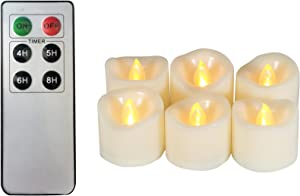 6 Battery Operated Flameless LED Tea Lights with Remote Timer Realistic Flickering Electric Tealight Votive Candles Set Bulk Baptism Wedding Party Decorations Home Decor Centerpieces Batteries Incl.