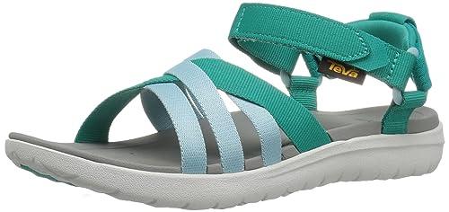 Teva W Sanborn Sandal, Sandalias de Punta Descubierta para Mujer, Turquesa (Teal)