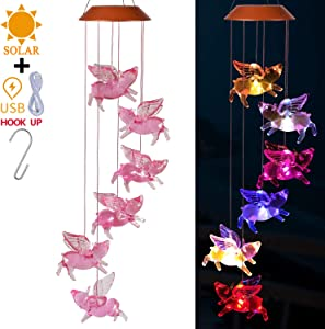 Solar Fly Pigs Wind Chimes Outdoor - Solar Powered & USB Charging Waterproof LED Changing Light Color Flying Pigs Mobile Romantic Wind-bell For Home, Festival Decor, Gifts For Mom, Garden Decoration