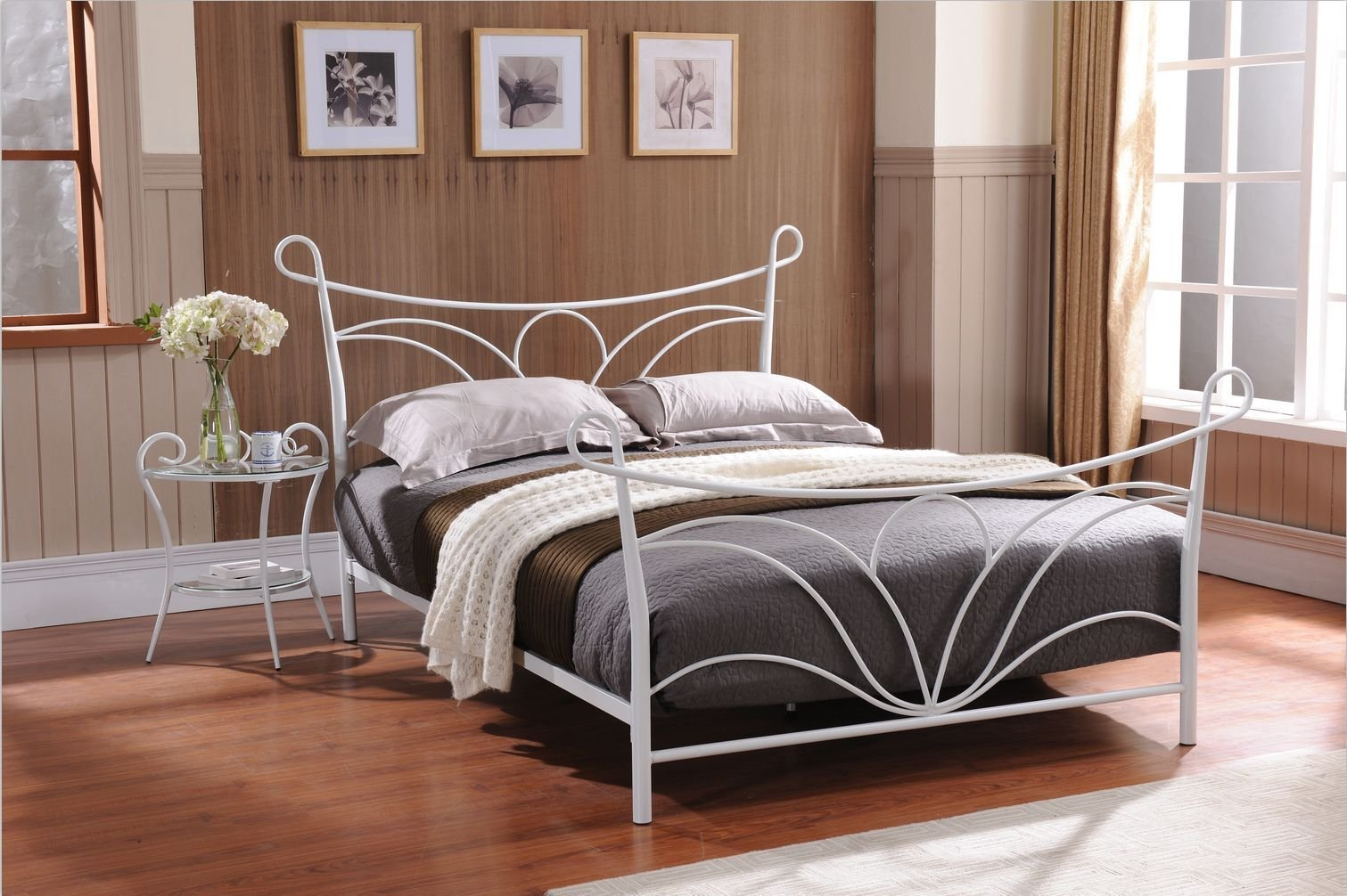 Hammer White Finish Metal Bed, Headboard Footboard Rails & Slats (Twin) - Hammer White Finish Metal Twin Size Bed, Includes Headboard, Footboard, Rails & Metal Slats. Made of metal tubes in white finish, with 7 slats and 2pcs center support legs, No need for a box spring or separate bed frame. - bedroom-furniture, bedroom, bed-frames - 71xmbnTou8L -