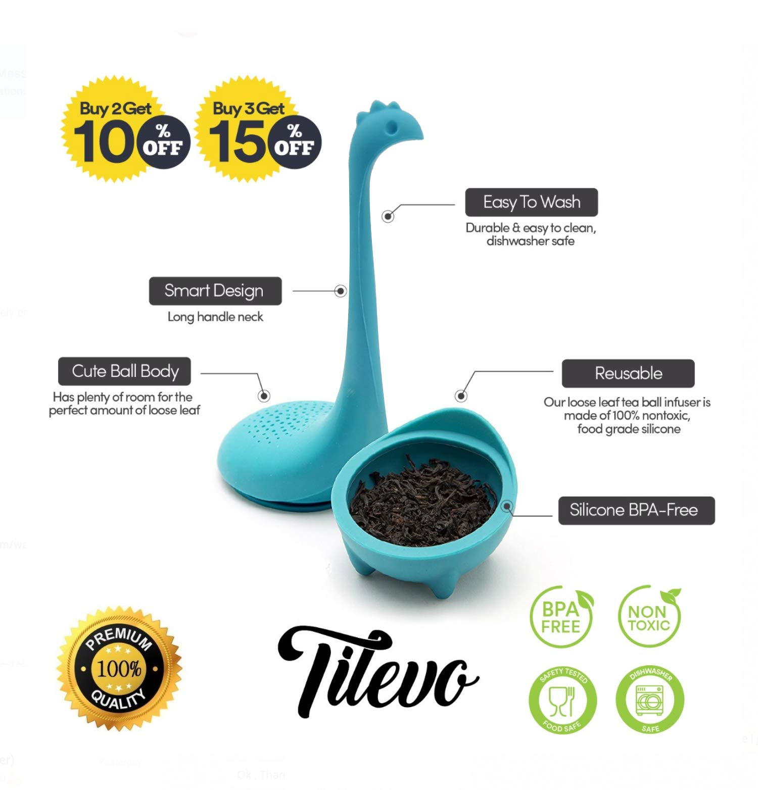 Tilevo Tea Infuser Set of 2 - Dinosaur Loose Leaf Tea Infusers with Long Handle Neck & Cute Ball Body Lake Monster Silicone Tea Strainer & Steeper with Gift Box by Tilevo (Image #2)
