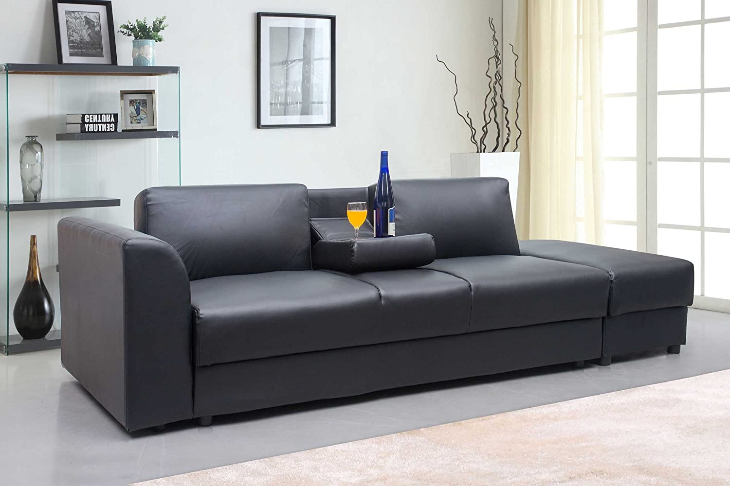 Best New Modern Faux Leather Kensington Storage Drawers Seater Sofa Bed U  Foot Stool In Black Amazoncouk Kitchen U Home With Couch Schwarz