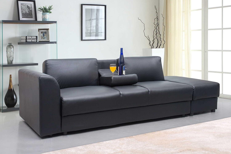 Sofa rundecke  New Modern Faux Leather Kensington Storage Drawers 3 Seater Sofa ...