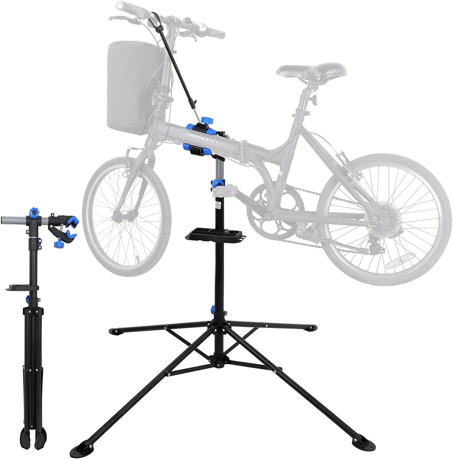 F2C Portable Adjustable 42.5 to 74 Pro Home Steel Maintenance Mechanic Bicycle Bike Repair Tool Rack Stands Workstand w Telescopic Arm, Tool Tray Balancing Pole Cycle Bicycle Rack