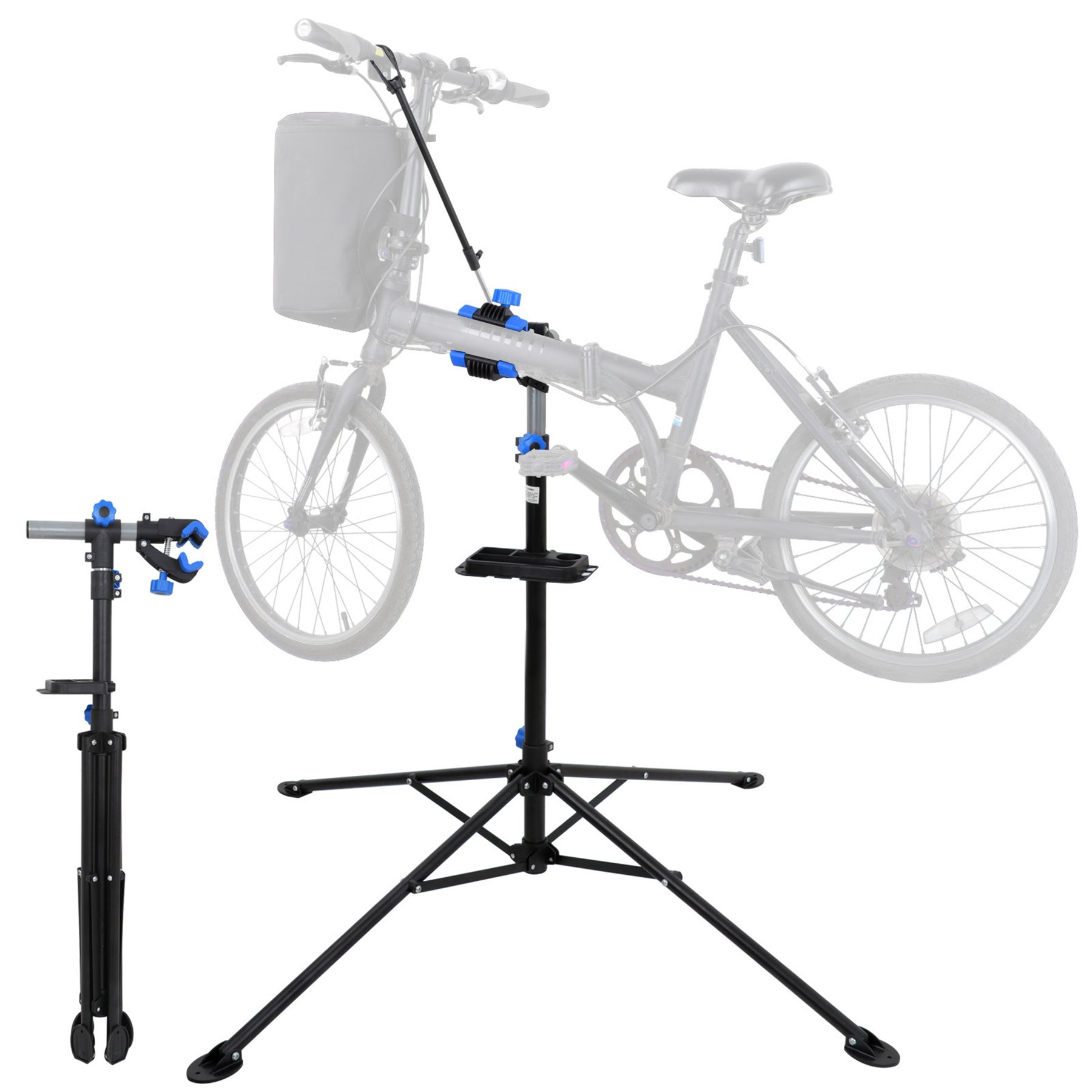 F2C Portable Adjustable 42.5'' to 74'' Pro Home Steel Maintenance Mechanic Bicycle Bike Repair Tool Rack Stands Workstand w/Telescopic Arm, Tool Tray& Balancing Pole Cycle Bicycle Rack