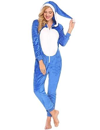 rechercher l'original Acheter Authentic nouvelle version ADOME Pyjama Combinaison Animaux Femme Adulte Unisexe Noël Vêtement de Nuit  Polaire Chaud avec Capuche Licorne Costume Cosplay