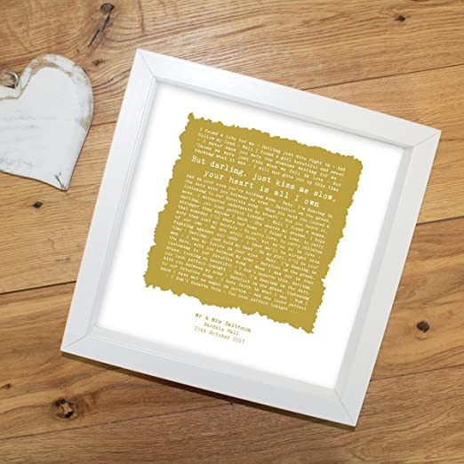 Ed Sheeran /'Perfect/' Personalised Framed Song Lyrics PrintAnniversary Gift